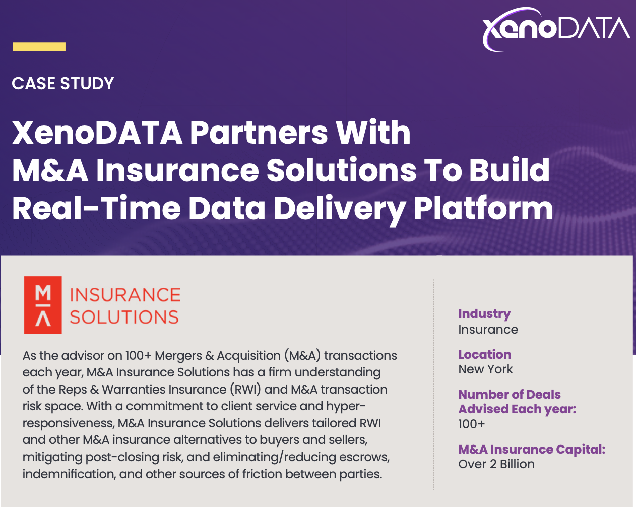 M&A Insurance Solutions Builds Real-Time Data Delivery Platform