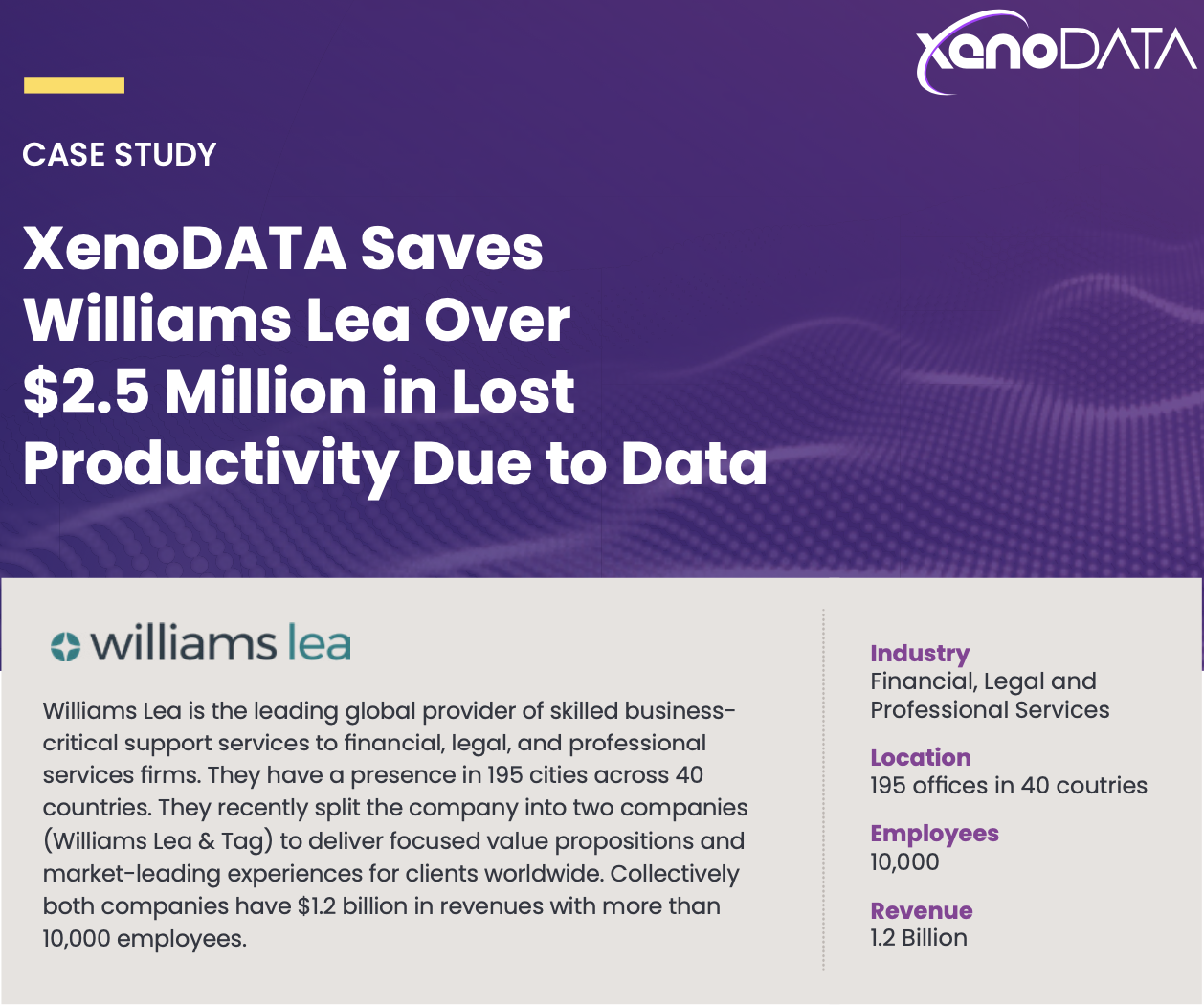 Williams Lea Drives $2.5M in productivity improvement with data.